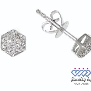 Solid 14K White Gold Cluster Diamond Stud Earrings